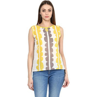 Jaipur Kurti Women Ethnic Cotton Abstract Print Kurta Sleeveless Casual Tunic Summer Wear, White