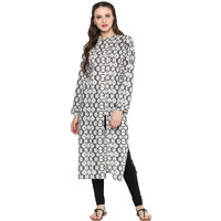 Jaipur Kurti Women Ethnic Cotton Aztec Print Kurta 3/4th Sleeves Casual Tunic Summer Wear, Grey