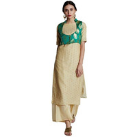 Jaipur Kurti Women Ethnic Brocade & Chanderi Floral Print Kurta Elbow Sleeves Casual Tunic Summer Wear, Cream & Green