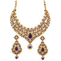 Indian floral rhinestone blue faux sapphire necklace in antique gold tone for women