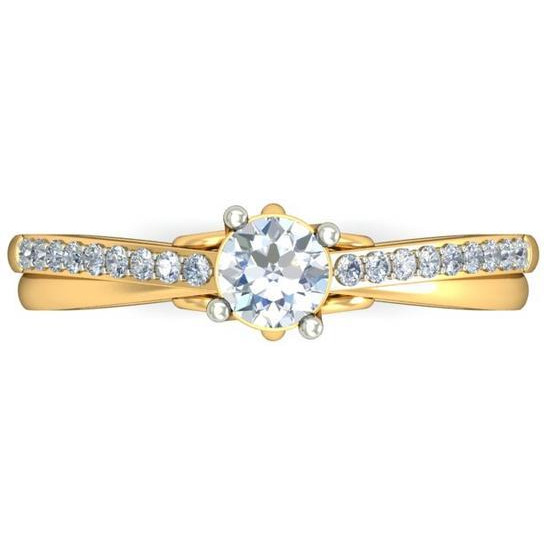 A 1.00 Carat Cz 925 Gold Plated Silver Solitaire Ring