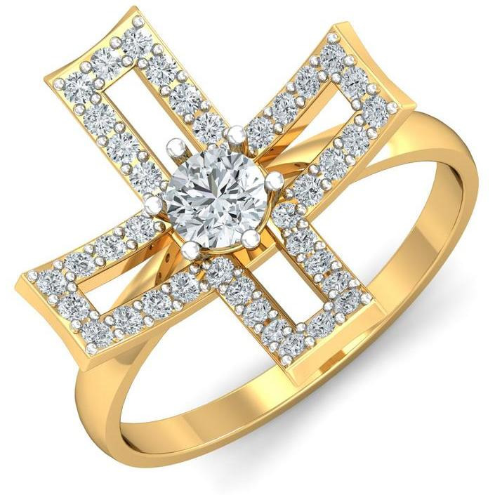A 1.80 Carat Cz 925 Gold Plated Silver Solitaire Ring