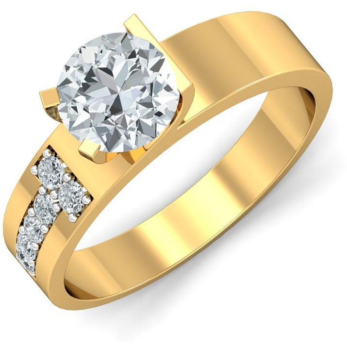 A 0.20 Carat Cz 925 Gold Plated Silver Solitaire Ring