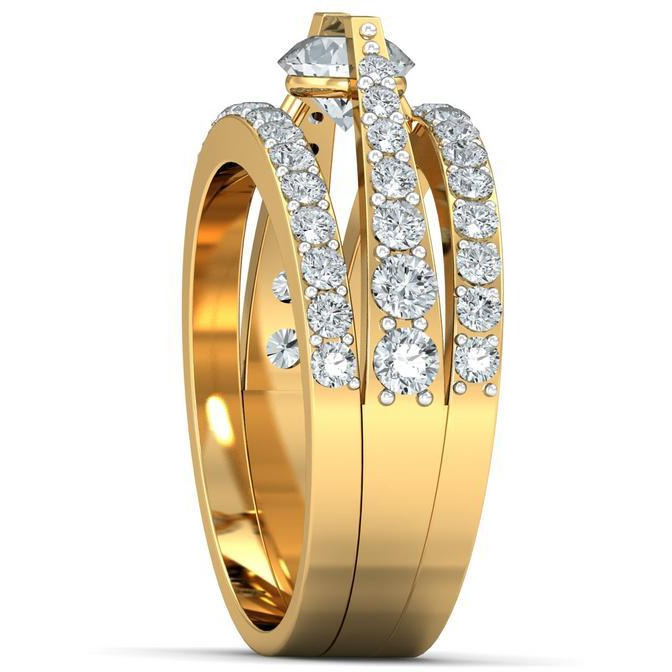 A 2.30 Carat Cz 925 Gold Plated Silver Solitaire Ring