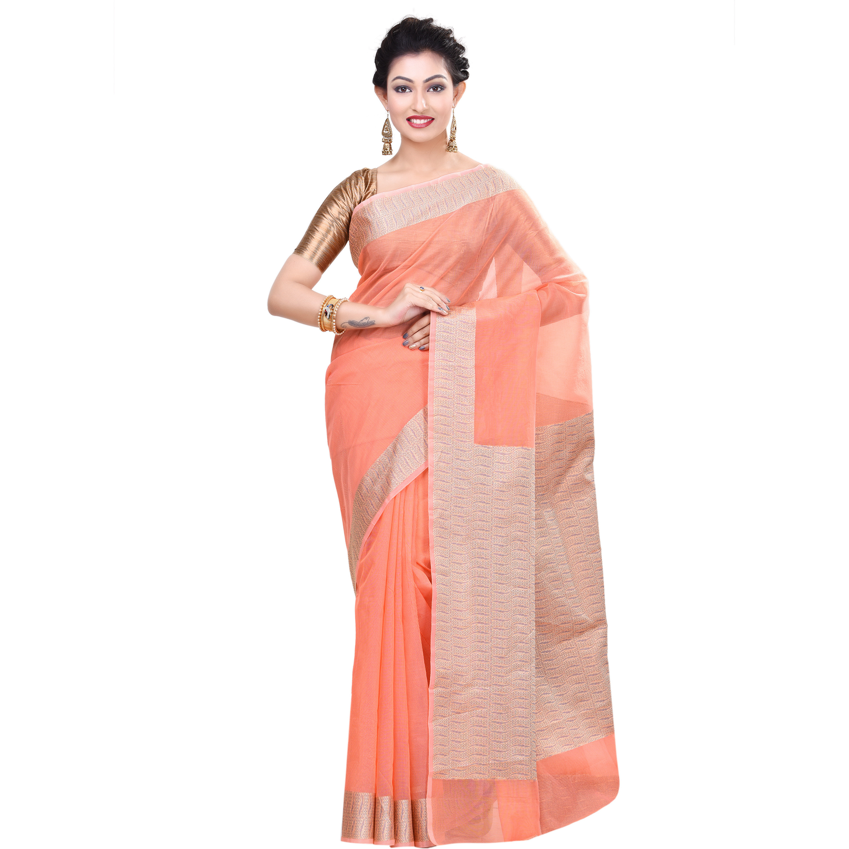 Cotton Blend Fancy Resham Work Banarasi Saree