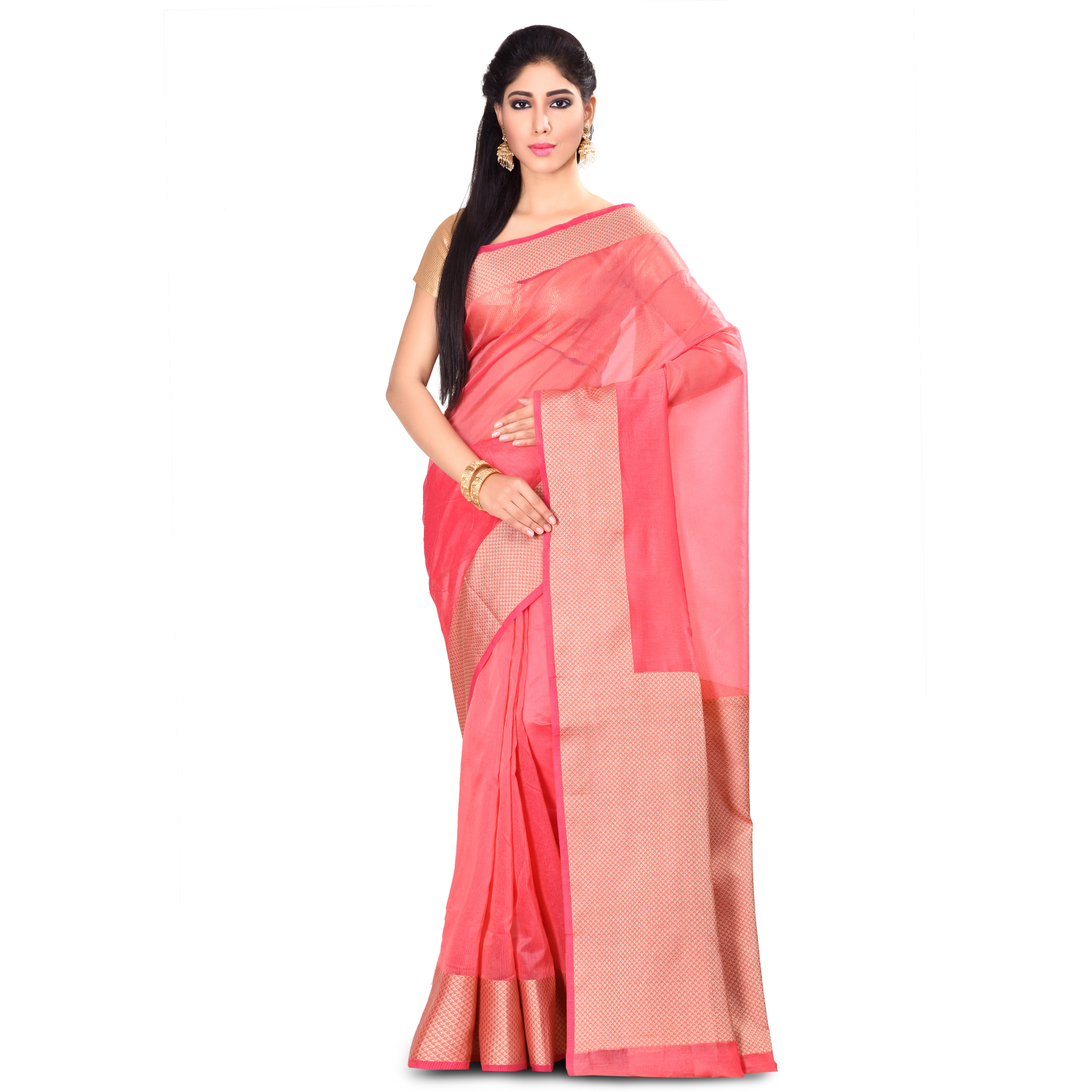 Cotton Blend Fancy Zari Work Banarasi Saree