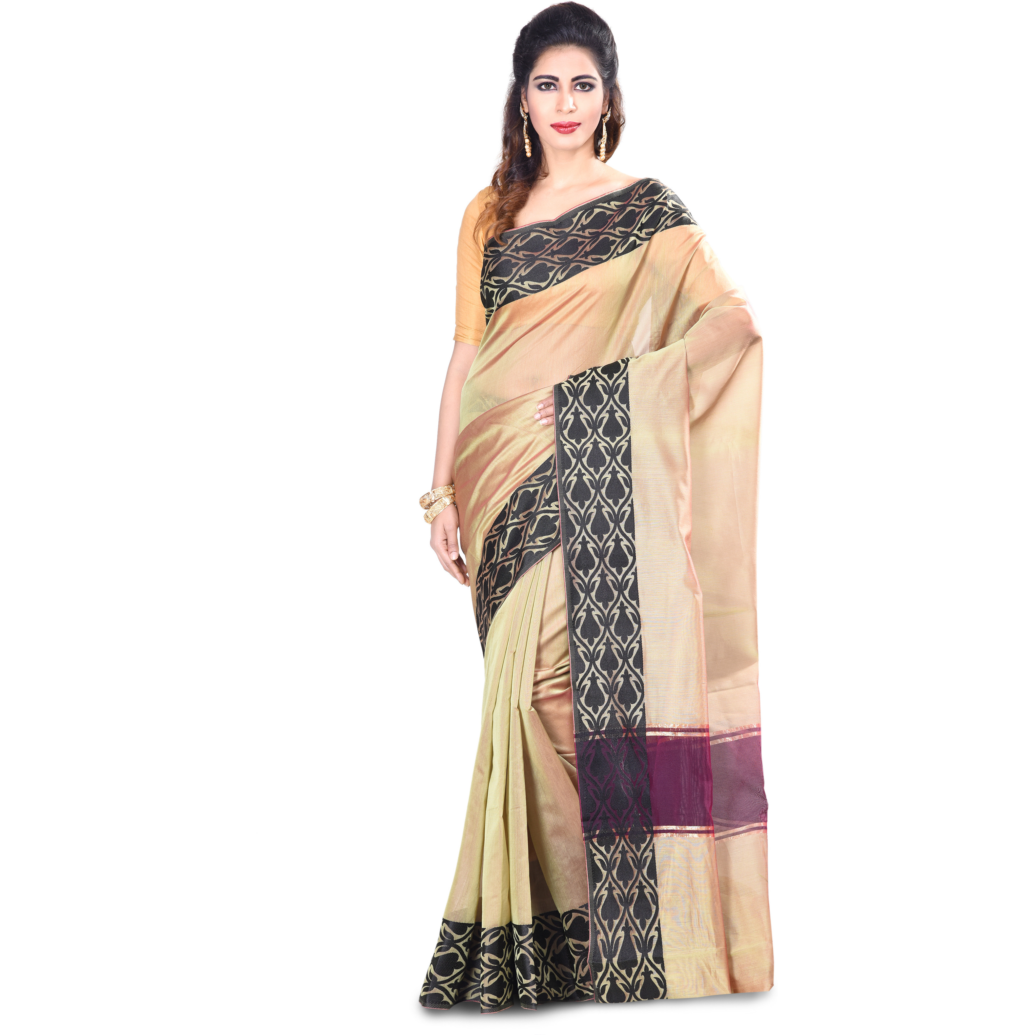 Chanderi Fancy Zari Work Banarasi Saree