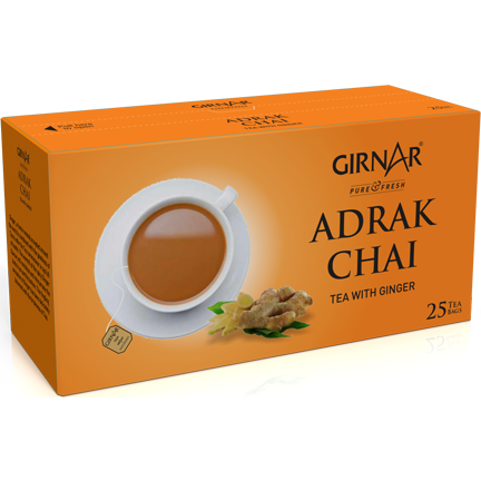 Girnar Black Tea Bags - Adrak (25 Tea Bags) Free Shipping