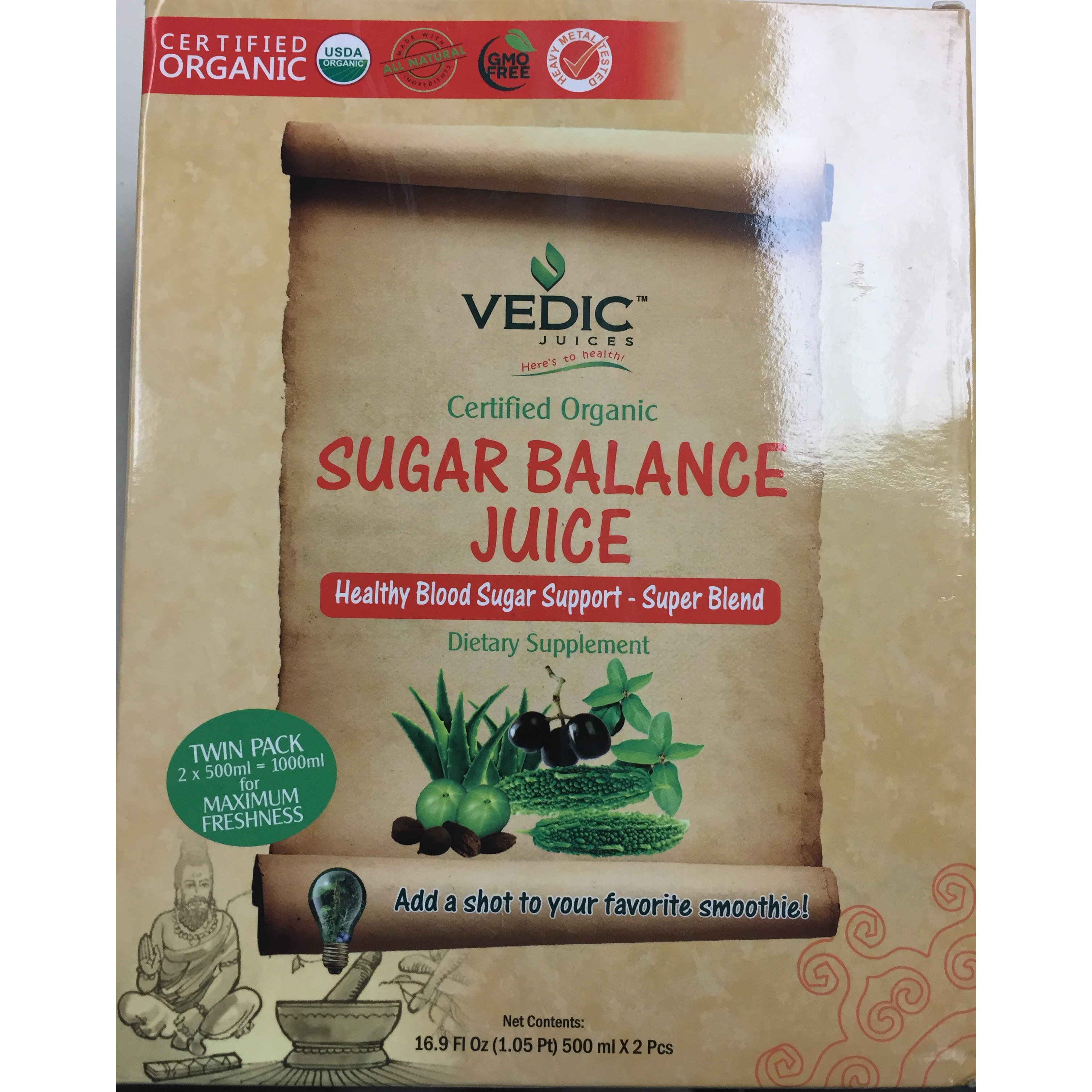 Organic Sugar Balance By Vedic 2x500ml Value Pack  Free Shipping