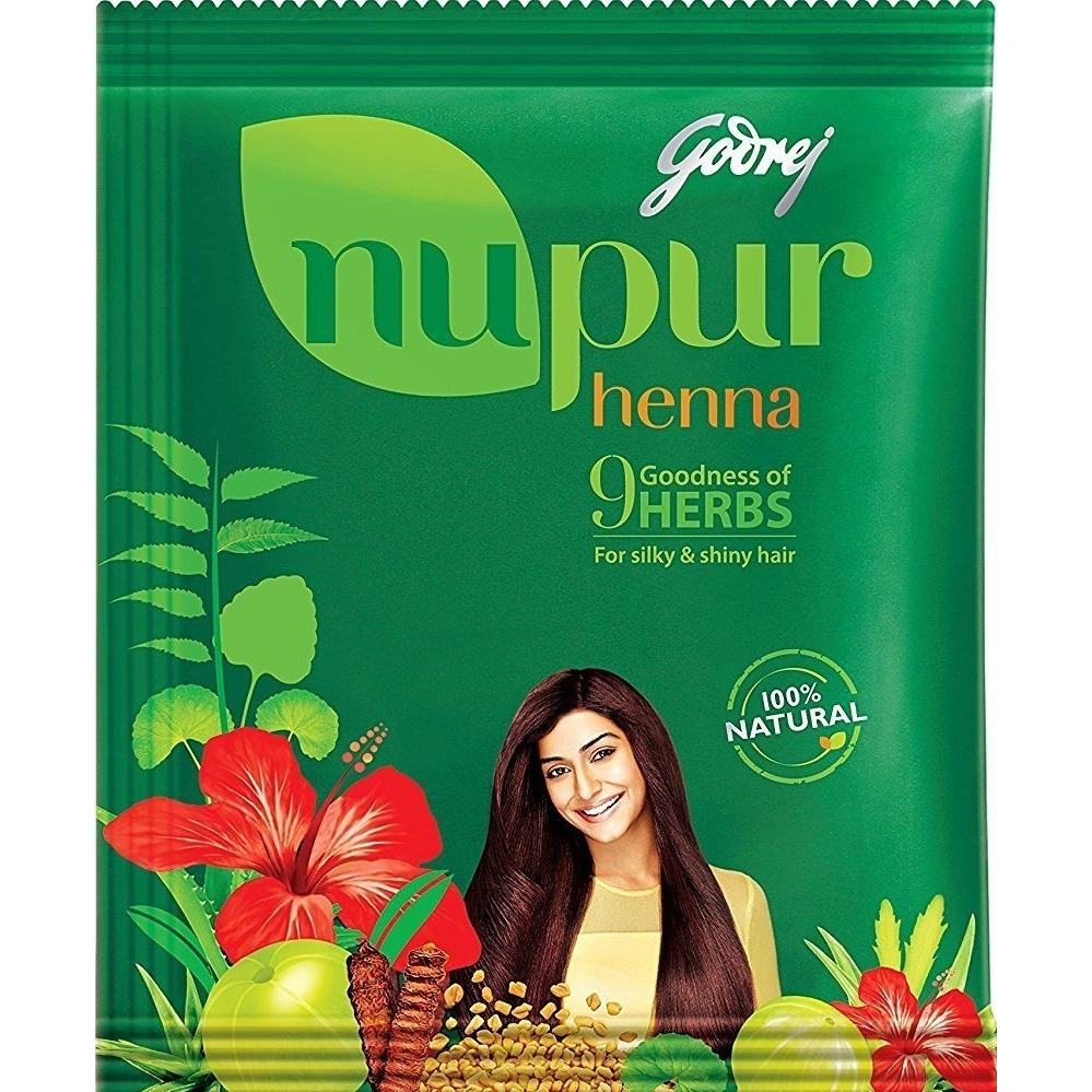 Godrej NUPUR HENNA  with 9 HERBS Natural Hair Dye Color & Conditioning  400g Free Shipping