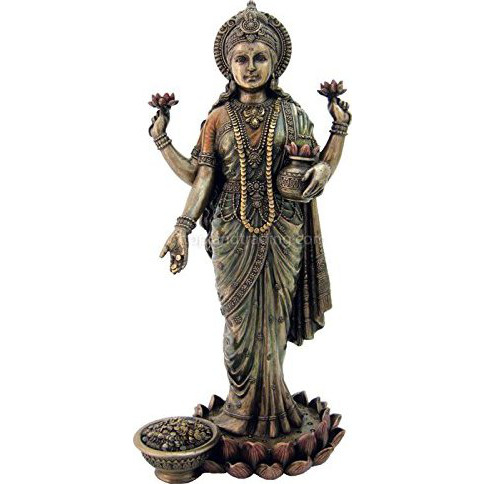 Lakshmi Hindu Goddess of Wealth, Prosperity, Wisdom and Fortune Statue