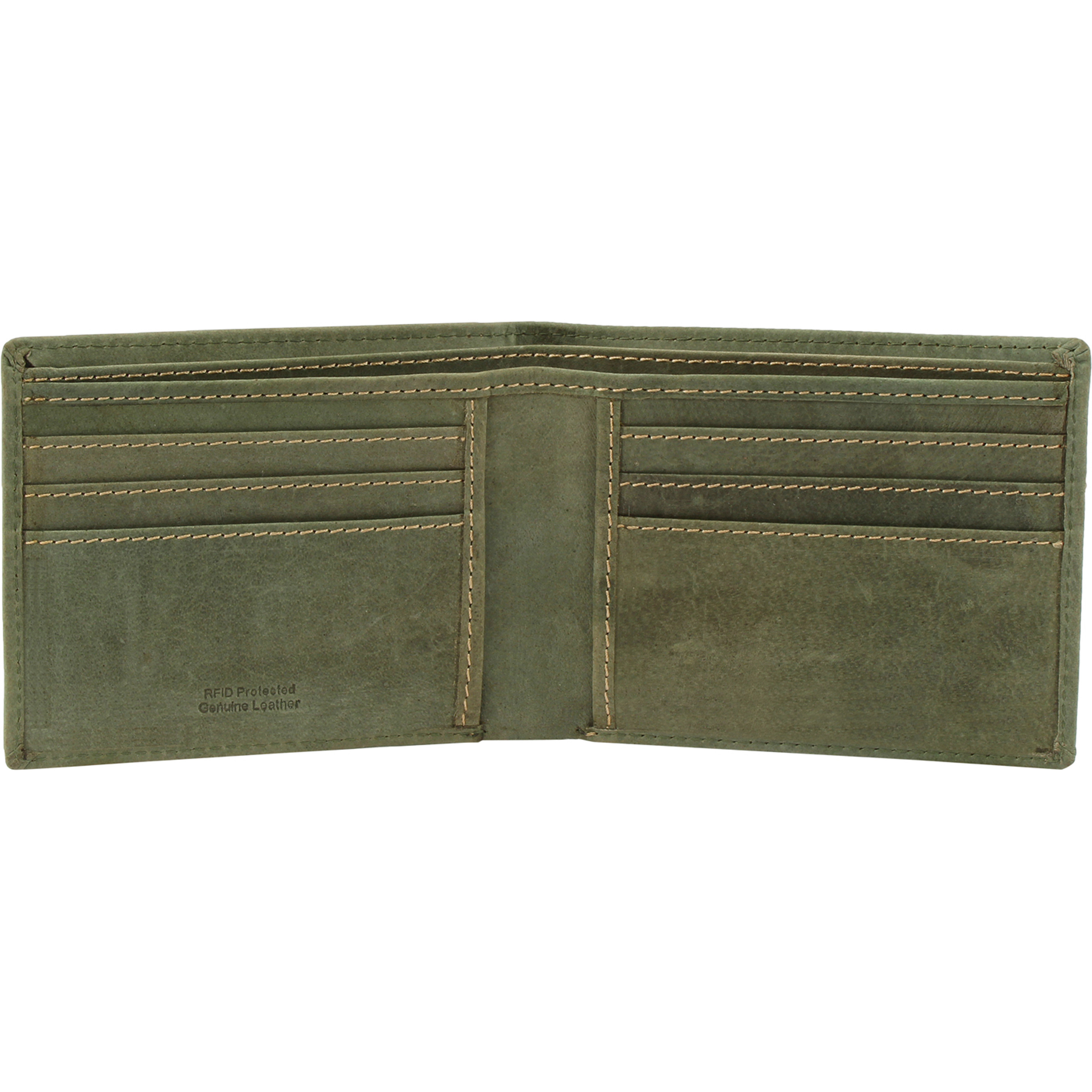 FIONA Mens Leather Bifold Wallet | Wallets For Men RFID Blocking | Genuine Leather | Extra Capacity Mens Green Wallet |