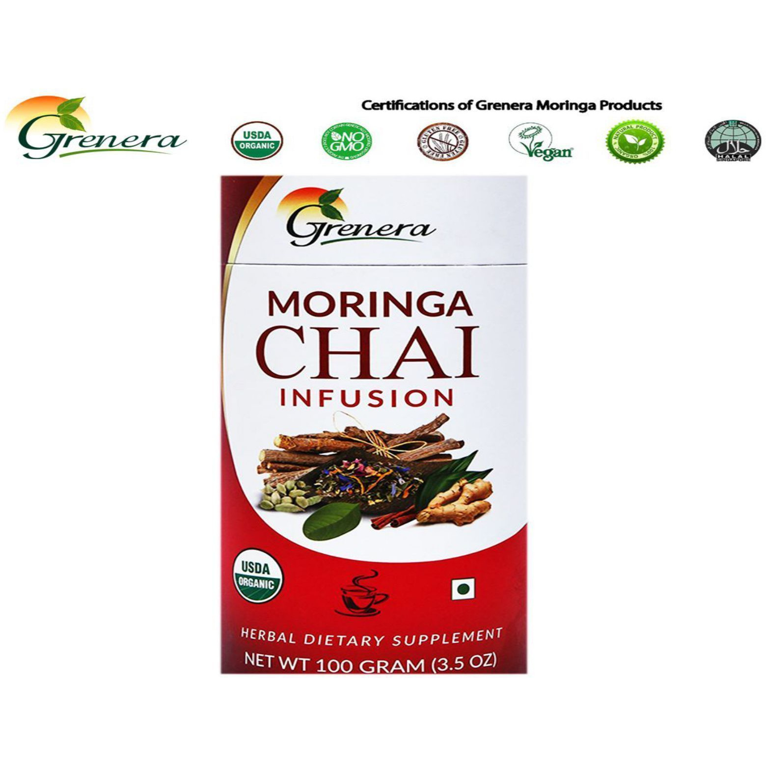 New 100% Grenera Organics Chai Tea -Pure Natural Herbals (Size:PACK OF 01)