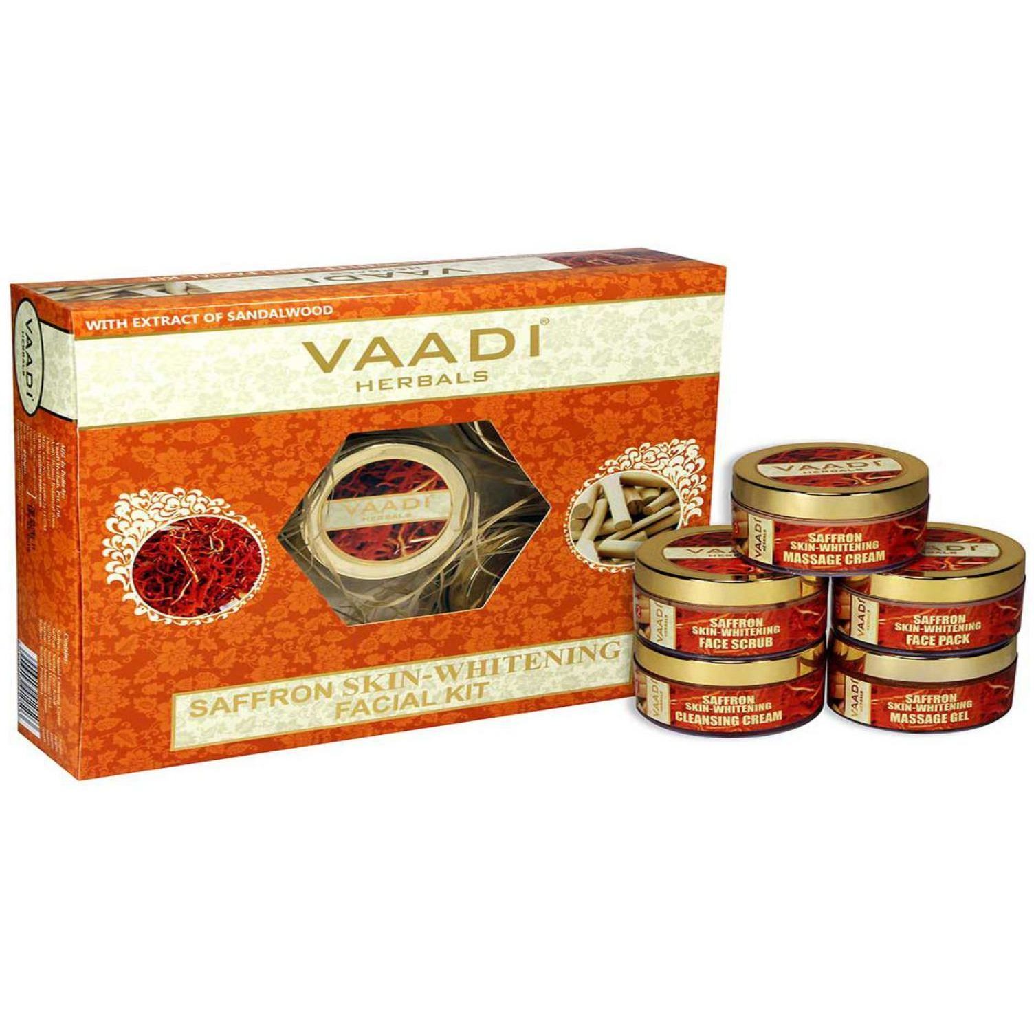 Vaadi Herbals Saffron Skin Whitening Facial Kit with Sandalwood Extract-70GM &270GM (Size:PACK OF 02)