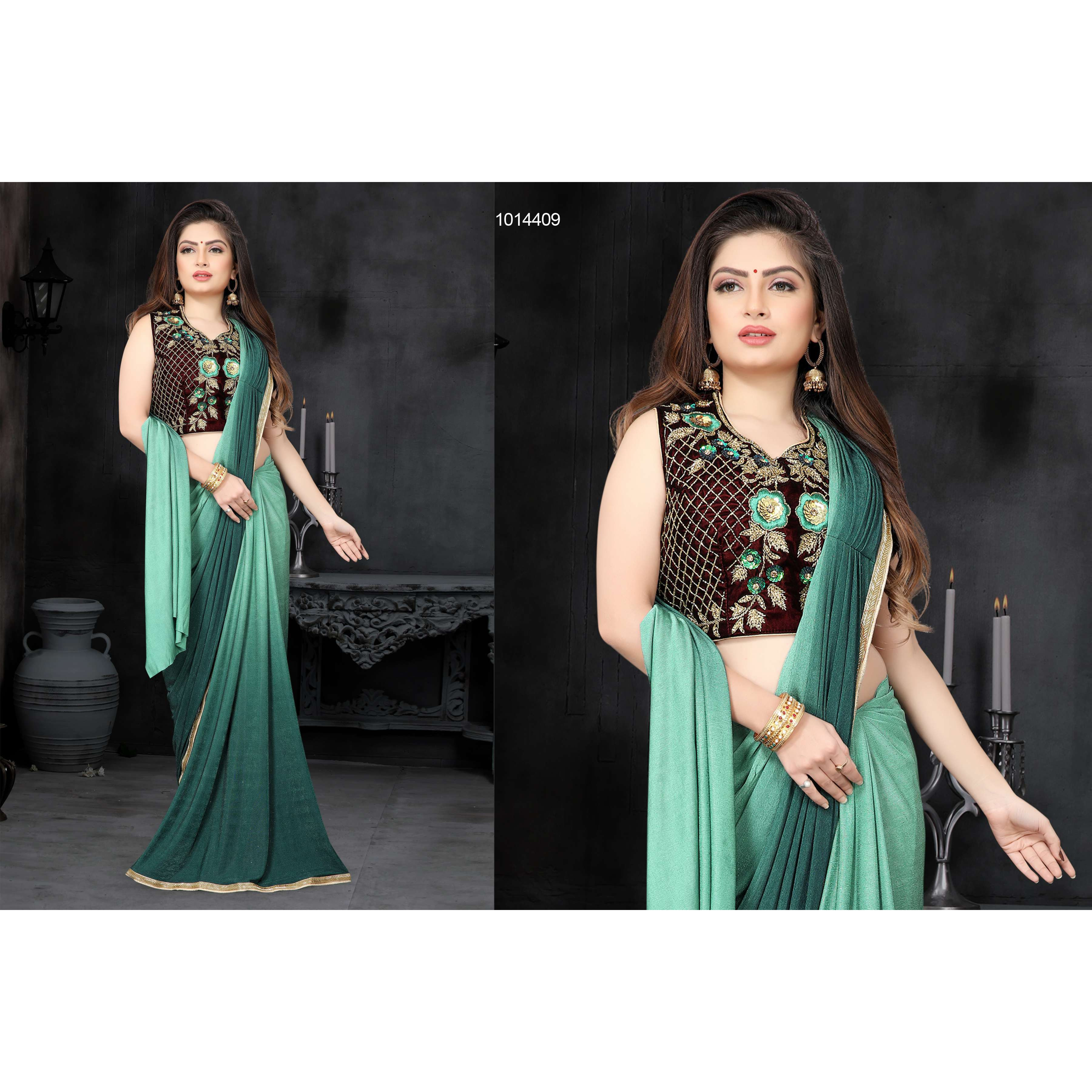 Women's ethnic designer Festive wear & Party Wear  Fancy Fully Stitched Easy to drape Designer saree Aquamarine Color