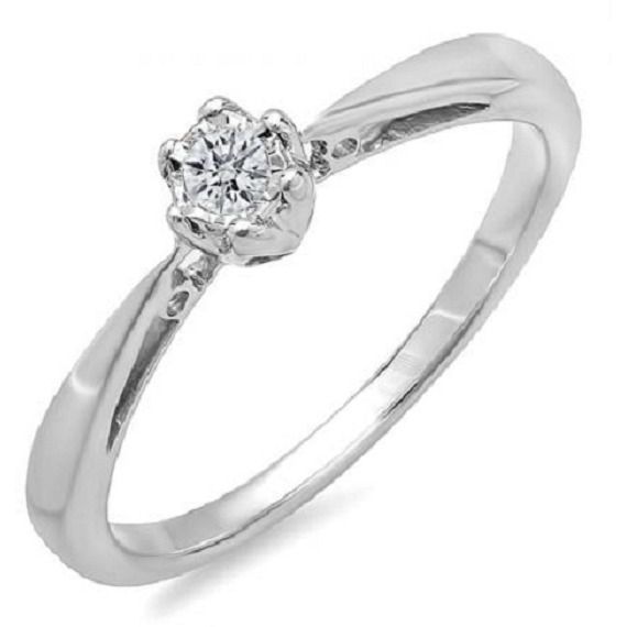 Awesome 0.07 TCW Real Natural Diamonds 925 Silver Engagement Ring
