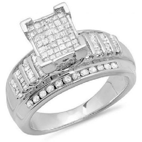 1.00 TCW Real Natural Diamonds 925 Silver Diamond Ring