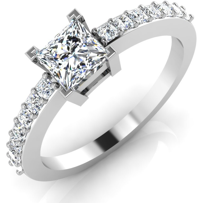Buy Online Princess Shape Diamond Cut Engagement   Wedding Ring Solitaire  14K White Gold from USA - Zifiti.com - Page 628b4b736