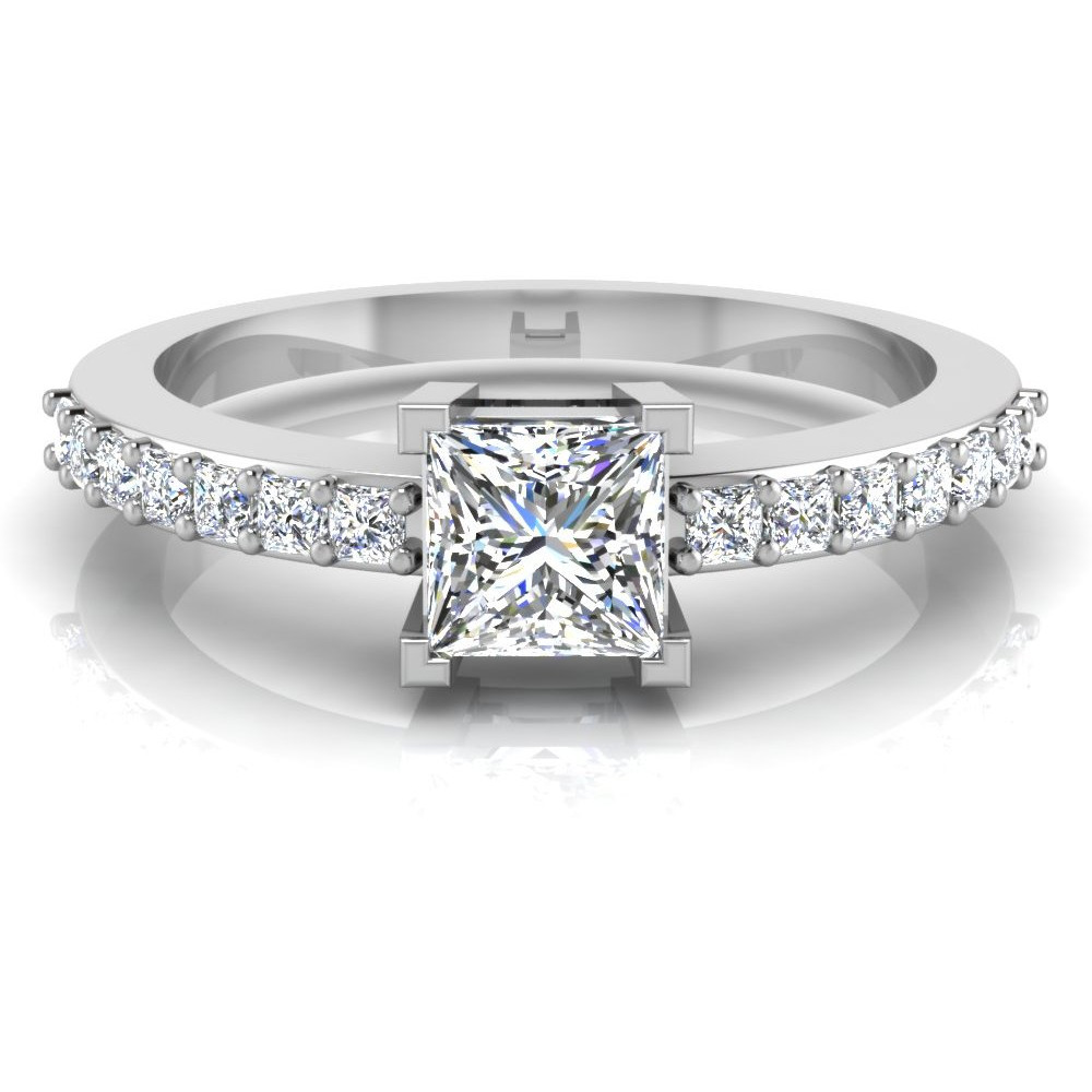 Princess Shape Diamond Cut Engagement & Wedding Ring Solitaire 14K White Gold