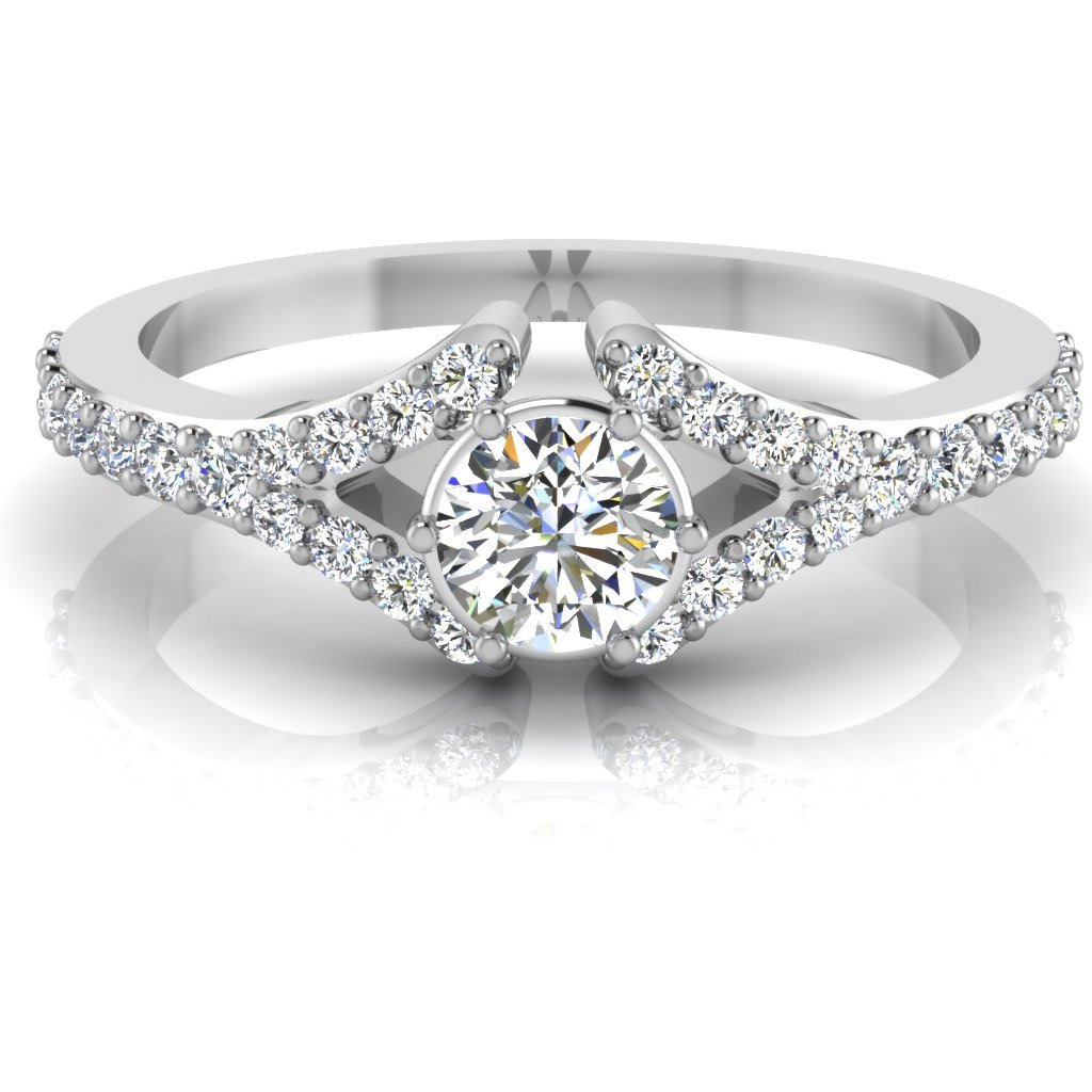 Round Shape Diamond Cut Engagement & Wedding Ring Solitaire 14K White Gold