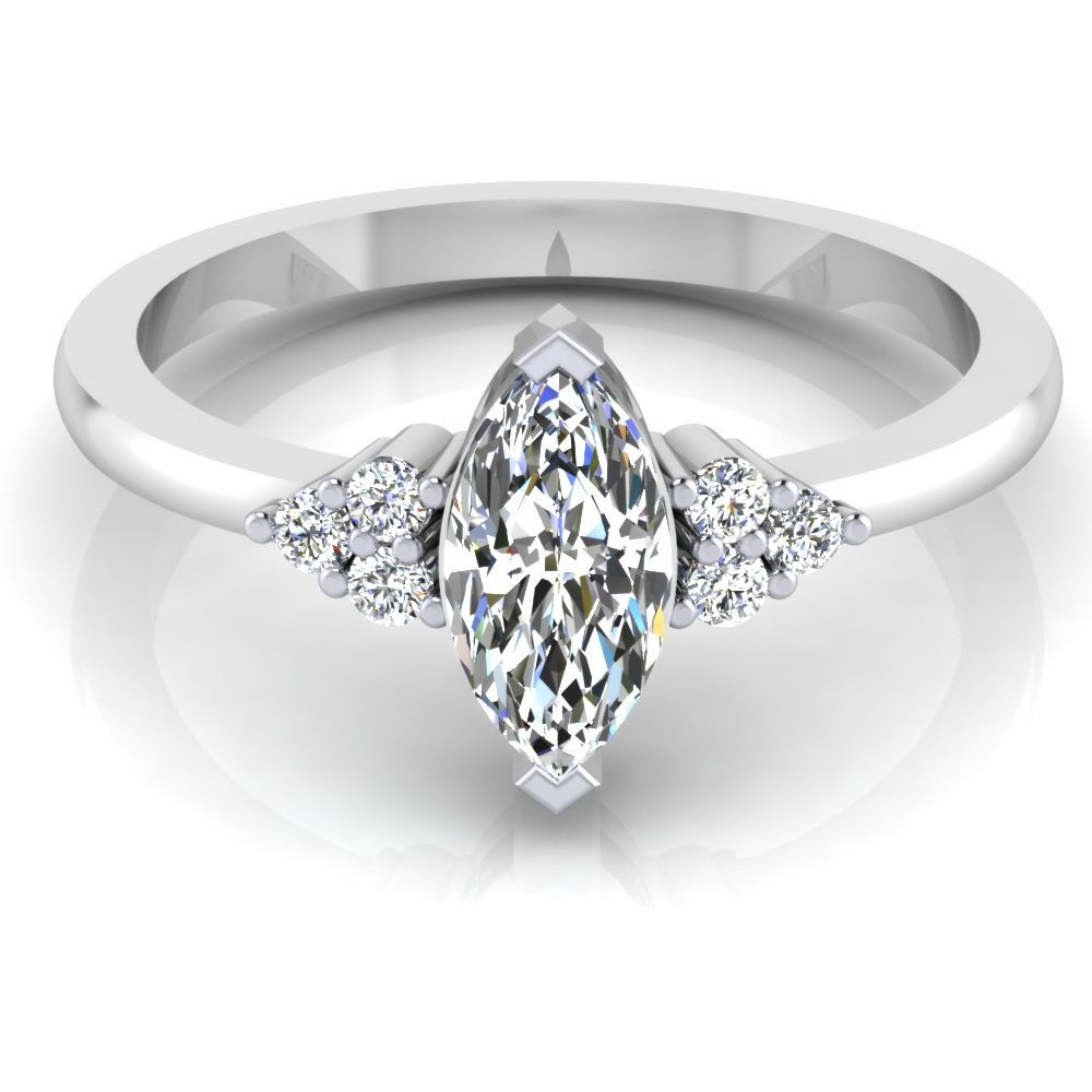 Marquise Shape Diamond Cut Engagement & Wedding Ring Solitaire 14K White Gold