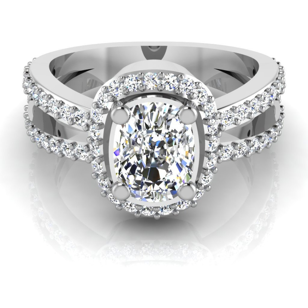 Cushion Shape Diamond Cut Engagement & Wedding Ring Solitaire 14K White Gold