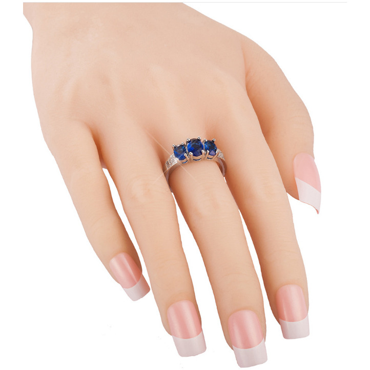 Platinum Plated AAA+ Quality Blue Cubic Zirconia Studded Finger Ring for Women
