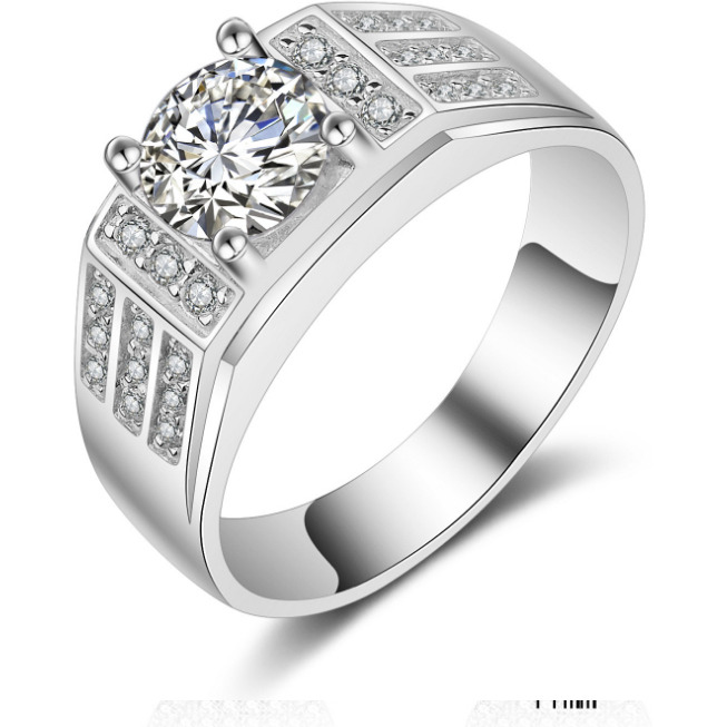 Platinum Plated AAA+ Quality Cubic Zirconia Ring for Men