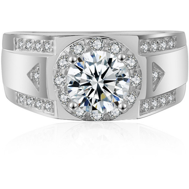 Platinum Plated AAA+ Quality Zirconia Ring for Men