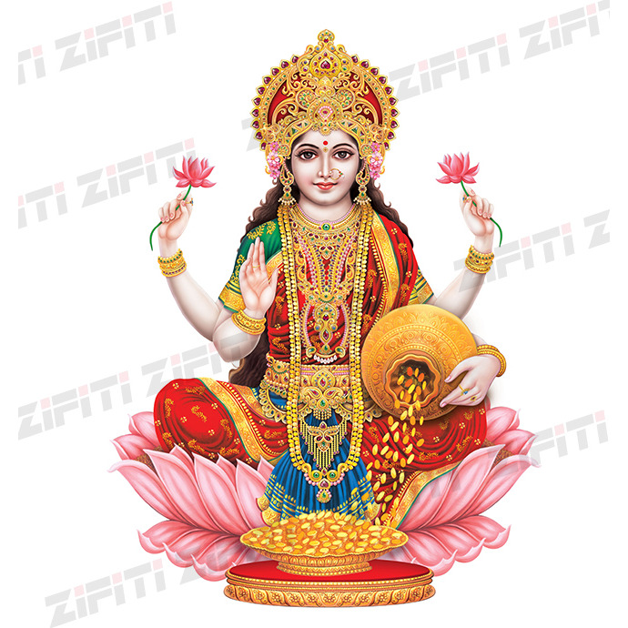 Indian God Laxmi Mata Illustration Poster (Size: 4 in. x 6 in.)
