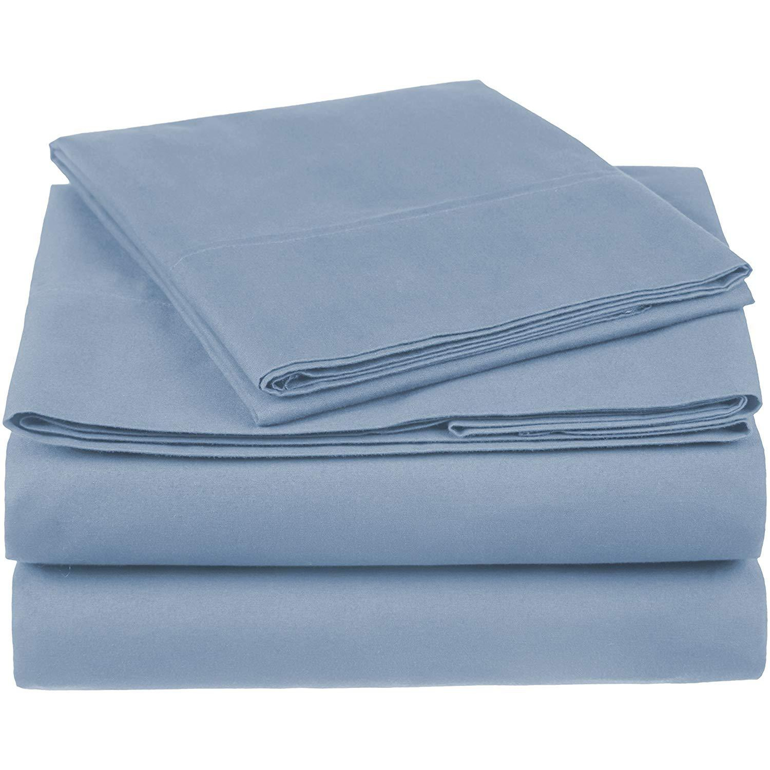 100% Cotton Sheet Set - 500 Thread Count (Piece:6 PIECE, Size:QUEEN, Color:BLUE)