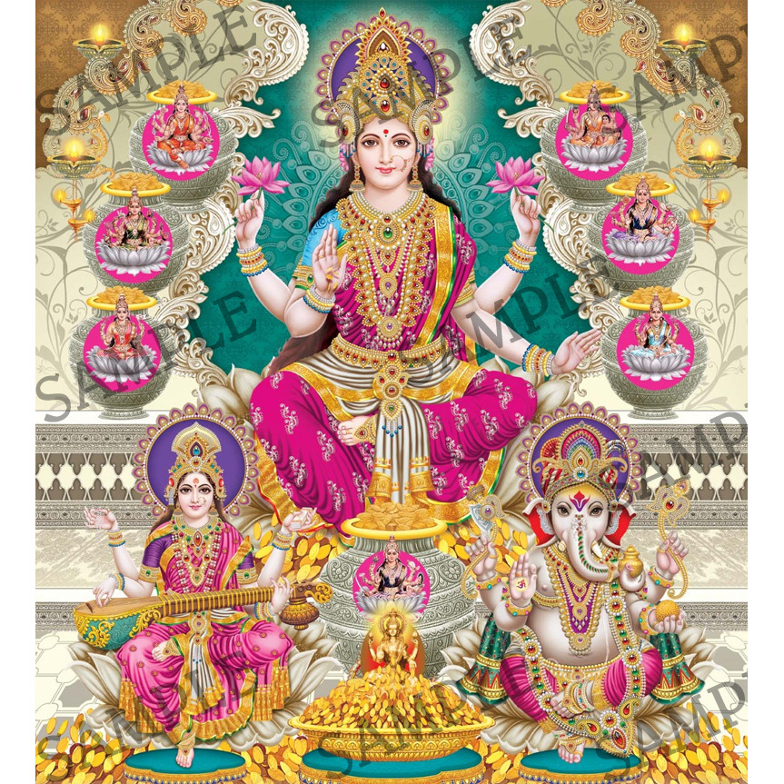 Goddess Laxmi  with Saraswati and God Ganesha -  4x6 Inch Frame