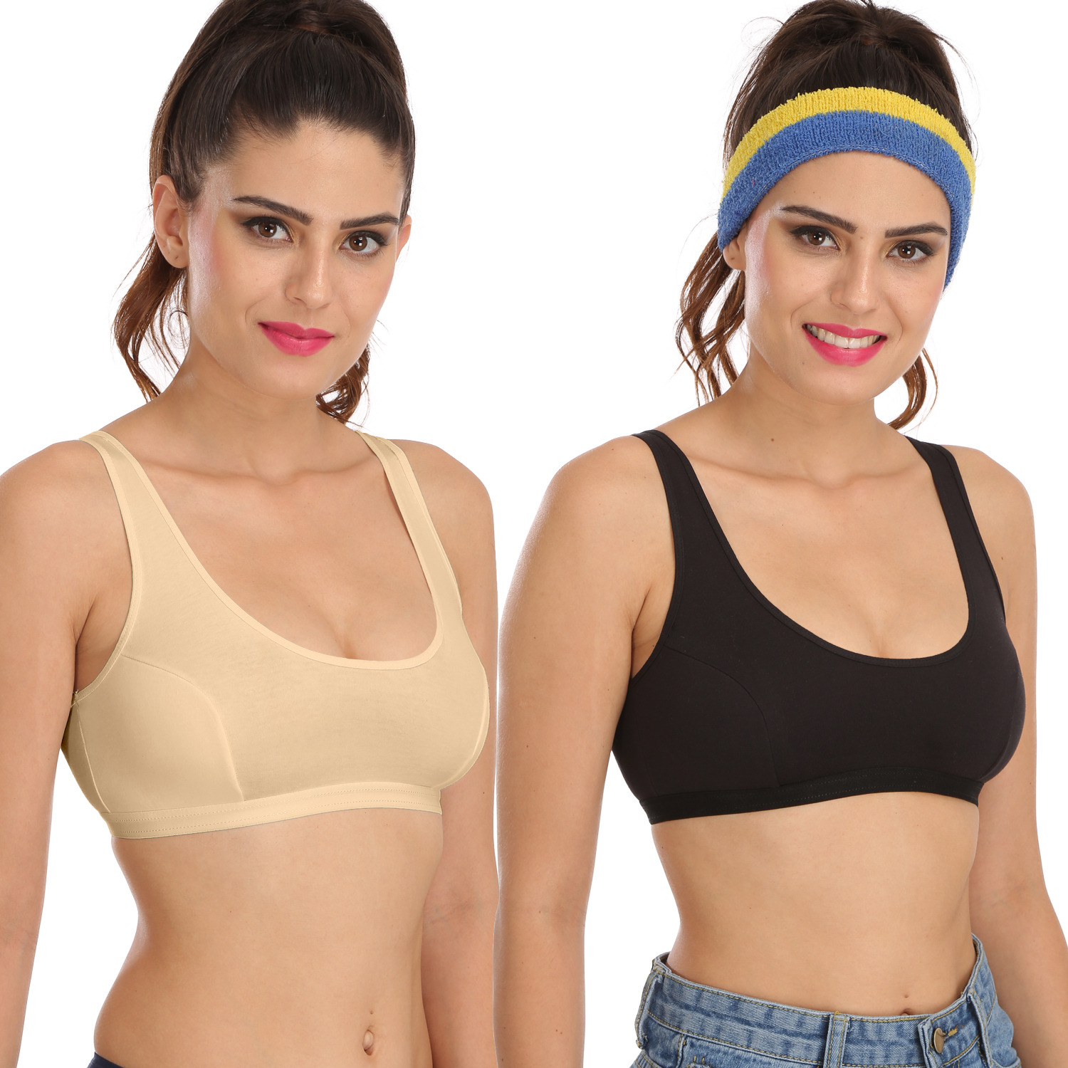 Sona Sports Bra For Gym & Yoga Sport Top Skin & Black Cotton Non-Padded Sports Bra (pack of 2)