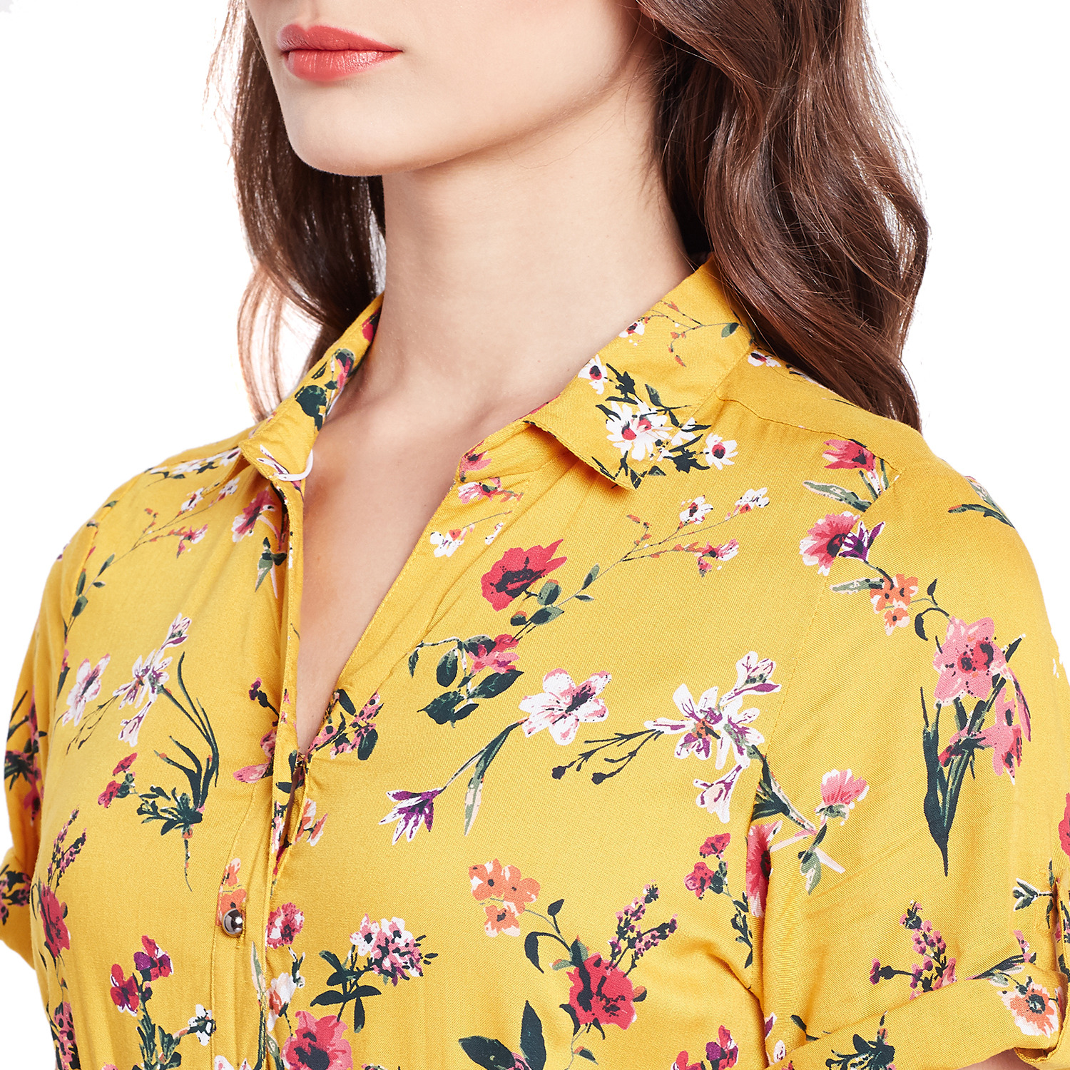 Purplicious Mustard Yellow Floral Fit and Flare Dress