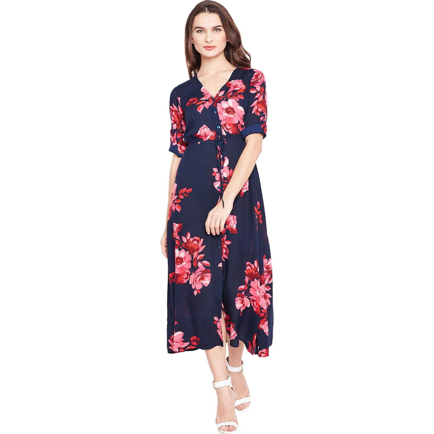 Purplicious Navy Blue maxi dress with Pink Flowars