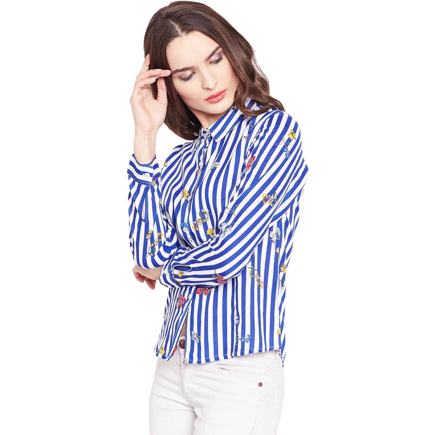 Purplicious Blue and White Floral Striped Casual Shirt