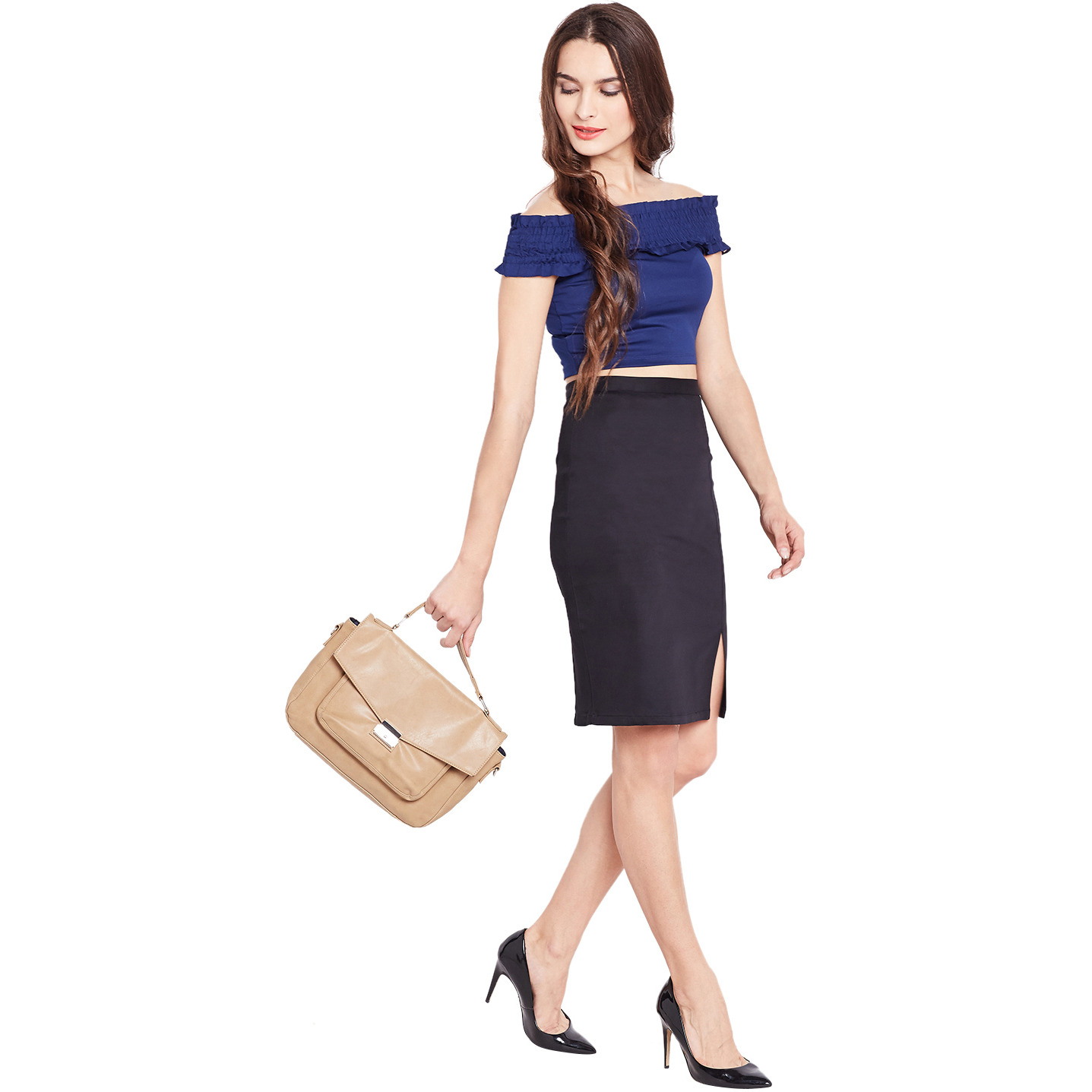 Purplicious Black Formal Pencil Skirt With Front Slit