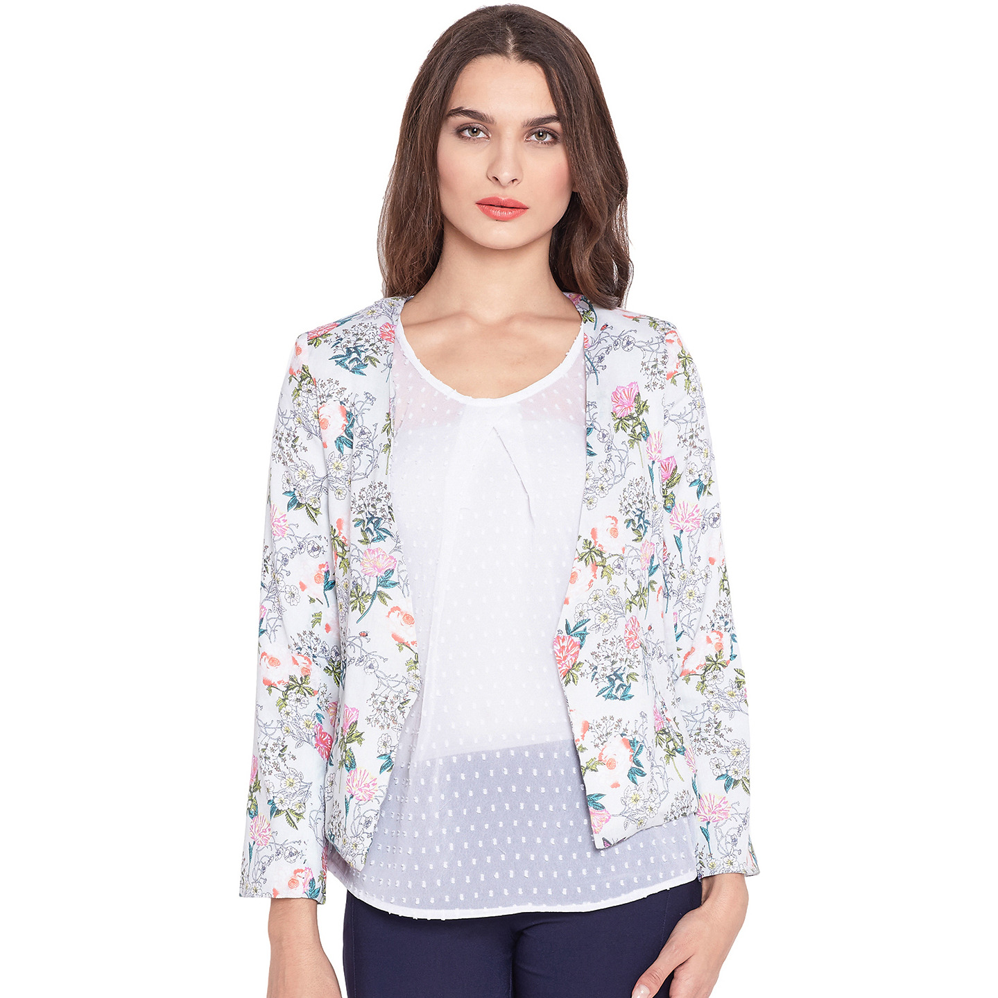 Purplicious Grey Floral Printed Cotton Front Open Blazer
