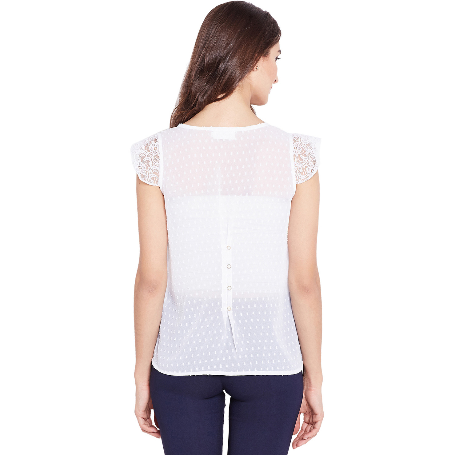 Purplicious White Swiss Dot Chiffon Top With Buttons On The Back And Lace