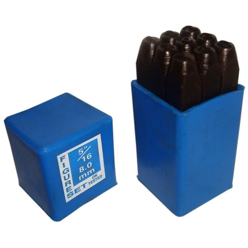 Hand Metal Marking Punches Number Stamps 5/16  8mm - 9 Pc Set