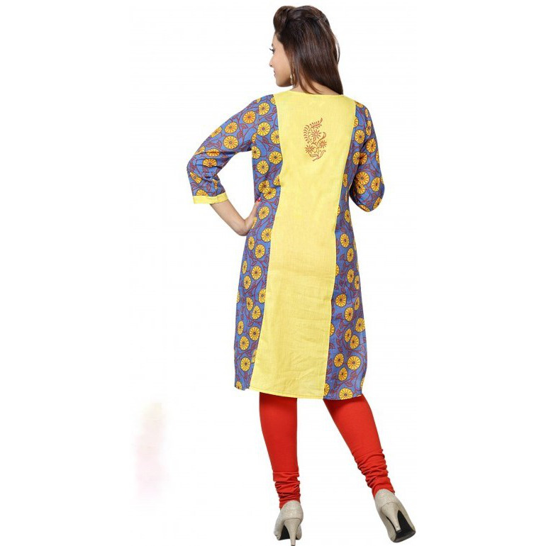 68d6ecca4c6 Buy Online Chic Yellow Kurti Tunic in Cotton (Size:44) from USA ...