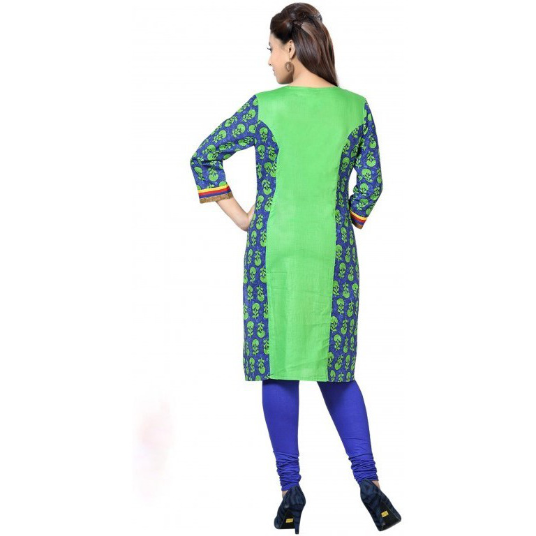 Blue Green Combo Cotton Kurti with Gold Block Print (Size:42)