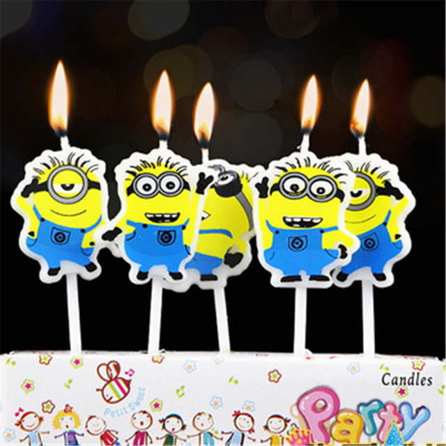 Buy Online Wanna Party Minions Cute Kids Birthday Cake Candles 5 In A Pack From USA