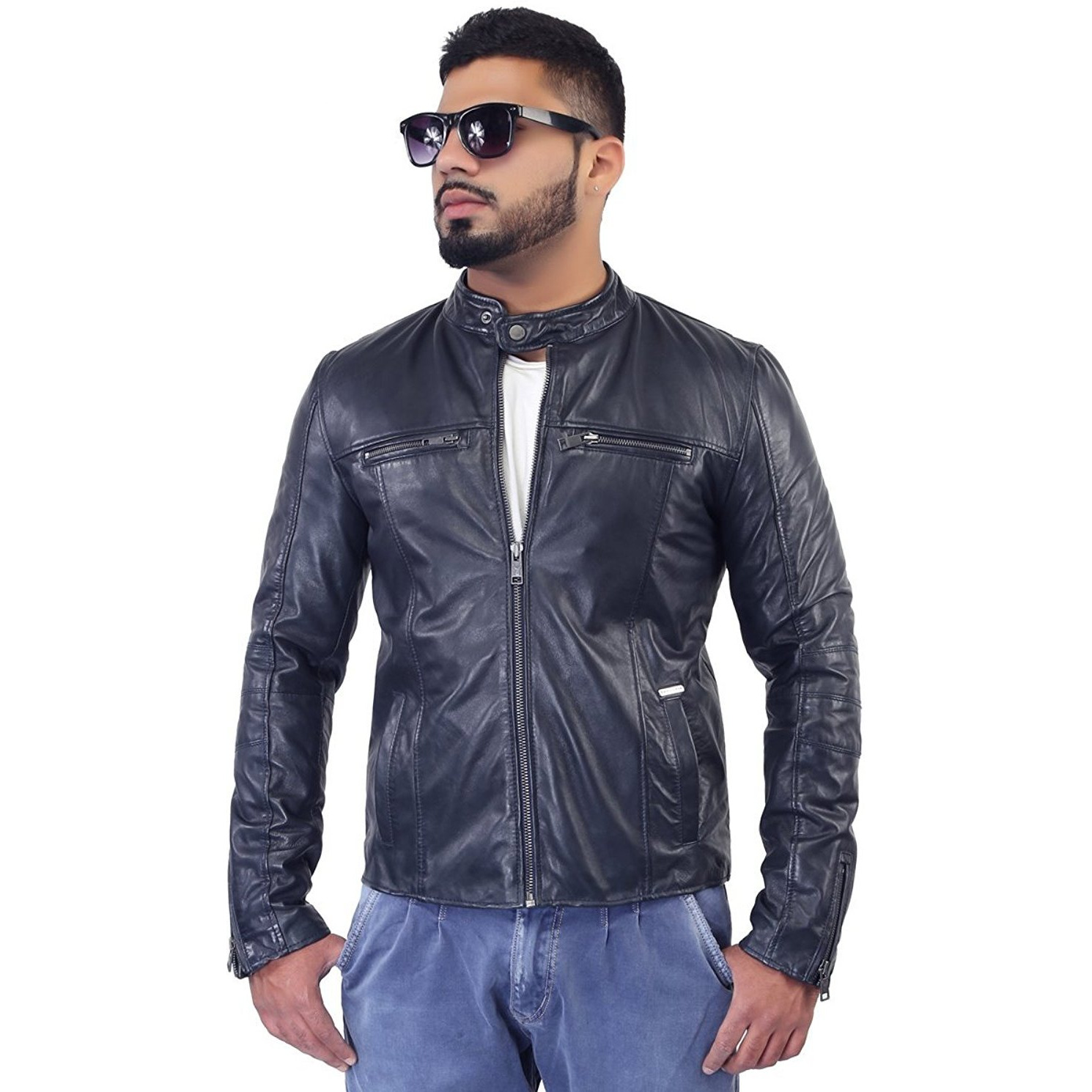 Bareskin Chest Zip Pockets Blue Leather Biker Jacket (Size:XS)