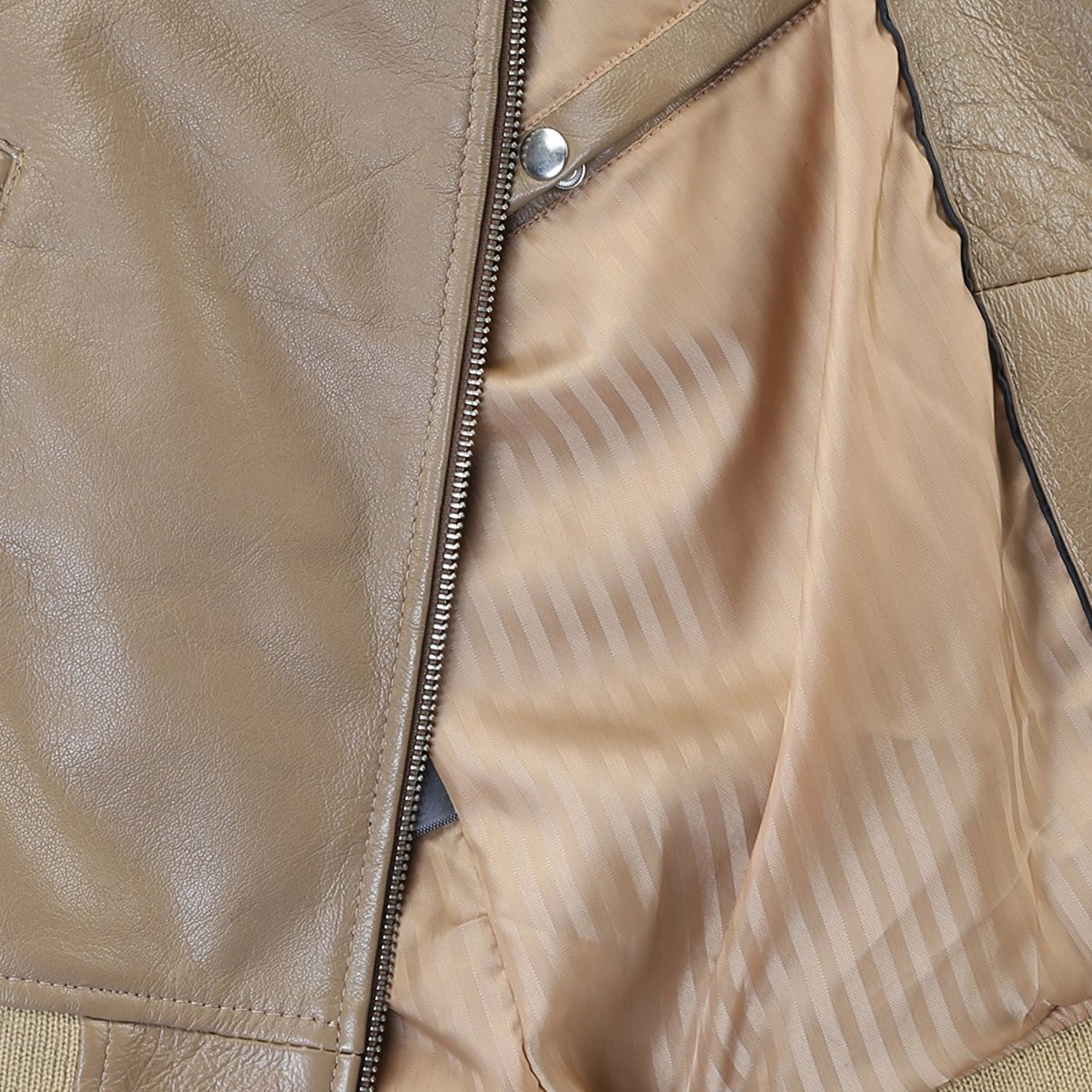 Bareskin Men's Beige Arm Padding Leather Biker Jacket (Size:XL)