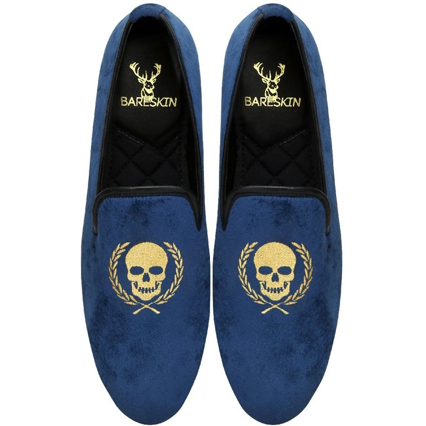 Bareskin Men Skull Wreath Blue Velvet Slip on Slip on Shoe (Size:UK 6)