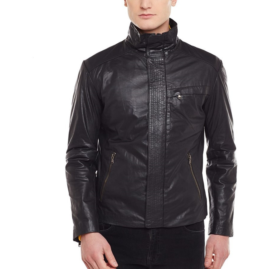 Bareskin men genuine leather black color regular fit jacket (Size:XL)