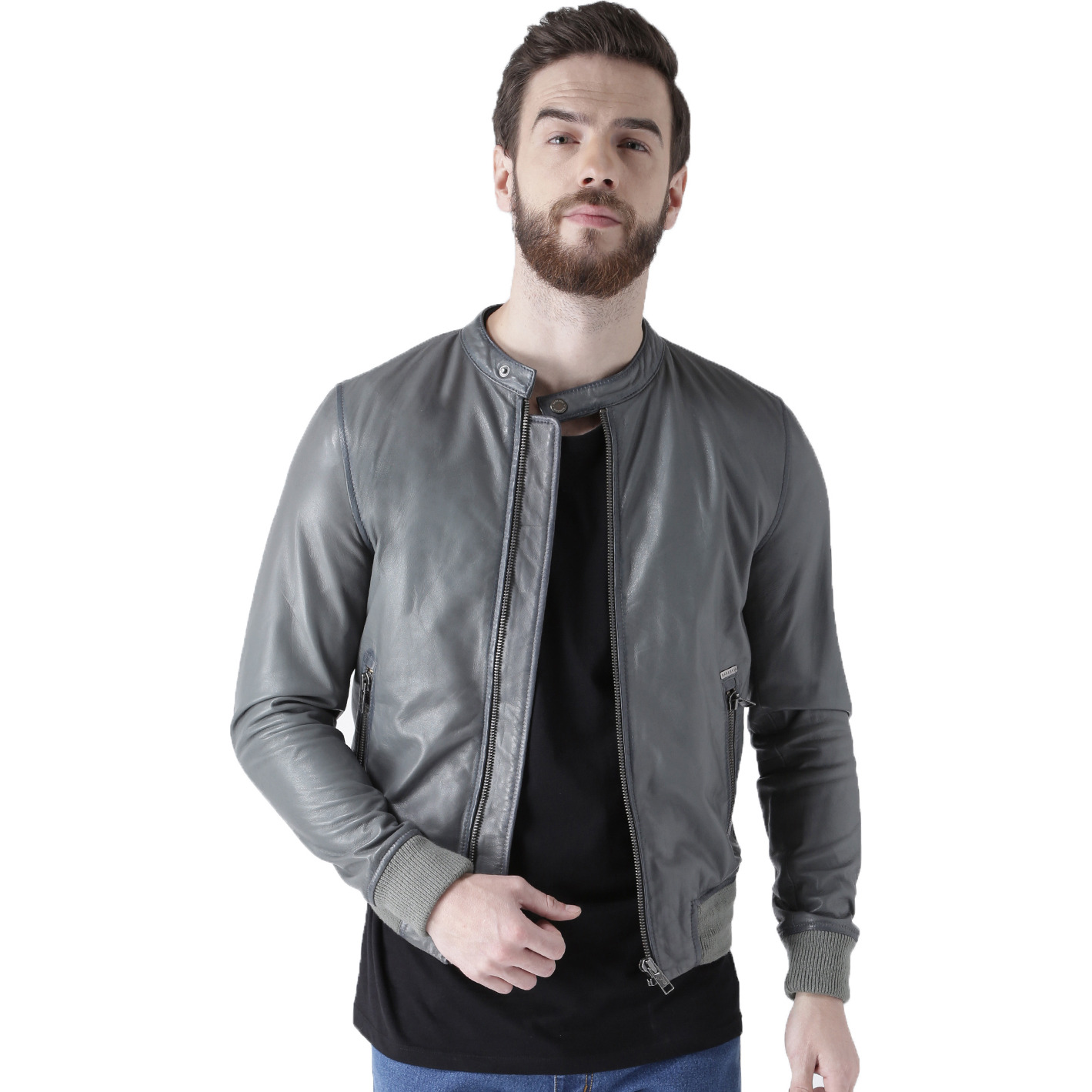 7fb2df8eb3d6 Buy Online Bareskin Mens Grey Color Banned Collar Leather Jacket For Men  from USA - Zifiti.com - Page