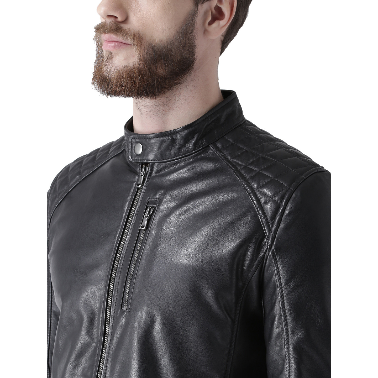 Bareskin Band Collar MenS Black Genuine Leather Jacket