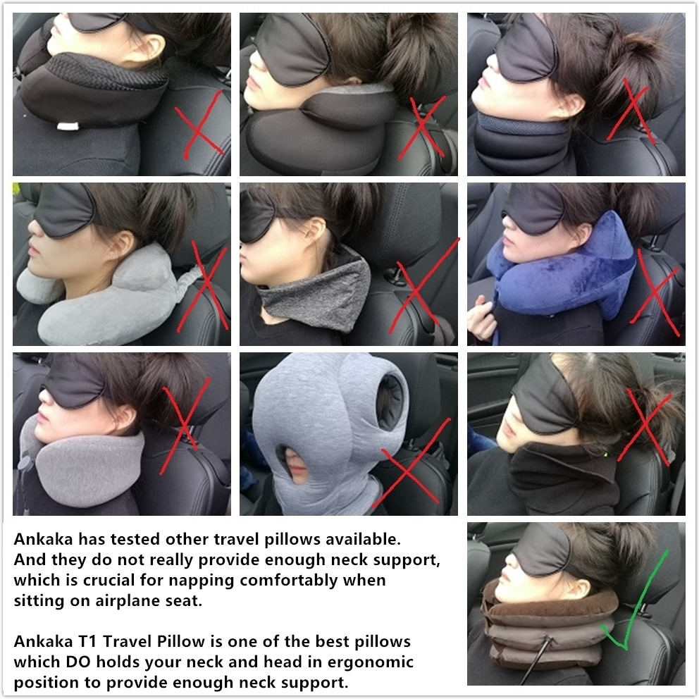 Ankaka T1 Travel Pillow: Scientifically Proven Neck Support Pillow, Perfect Neck Pillow for Airplane Travel, Enjoy a Comfortable Sleep on Flights